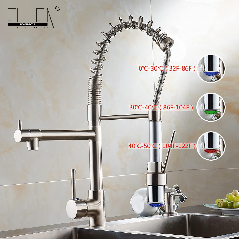 Water tap kitchen pull out faucet LED light kitchen faucet mixer with two spray brushed nickel цена и фото