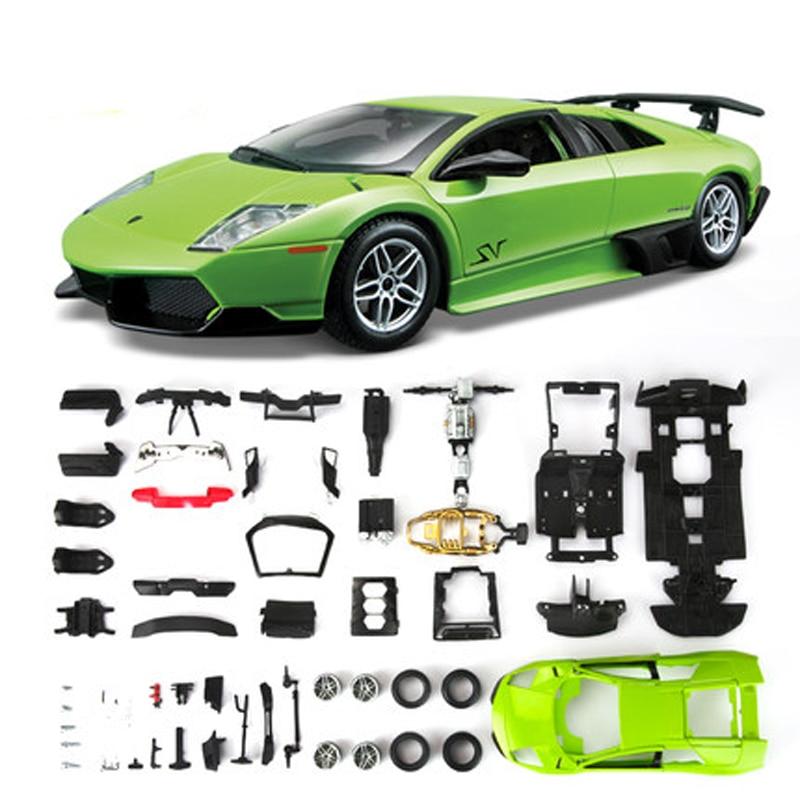 Bburago DIY Assembly Cars Model 1 24 Green LP670 4 SV Alloy Static Super Car Collection