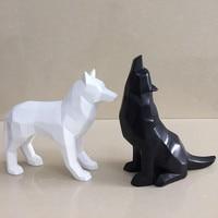 2017 Creative Black and White Wolf Figurine Simple Geometric Origami Animal Sculpture Home Decoration