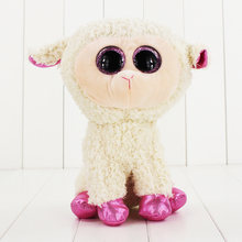 25cm Ty Beanie Boos Big Eyes Plush Toy Doll White Sheep TY Baby Kids Gift Collection