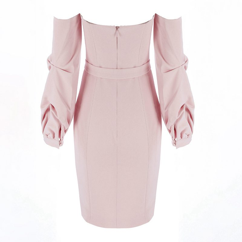 Club Gosexy Apricot Sash Dress Pink Sexy Off Robes Celebrity Summer Party Slash New Robe Piste Femmes Épaule Cou Midi 2019 qw0FTrq7