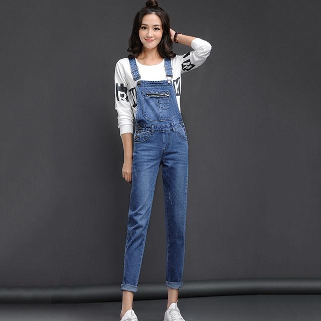 Chegada nova Mulheres Azul Denim Geral de Multi Bolso Calças Suspender Doce Calça Jeans Macacões para Meninas Tamanho S-XL