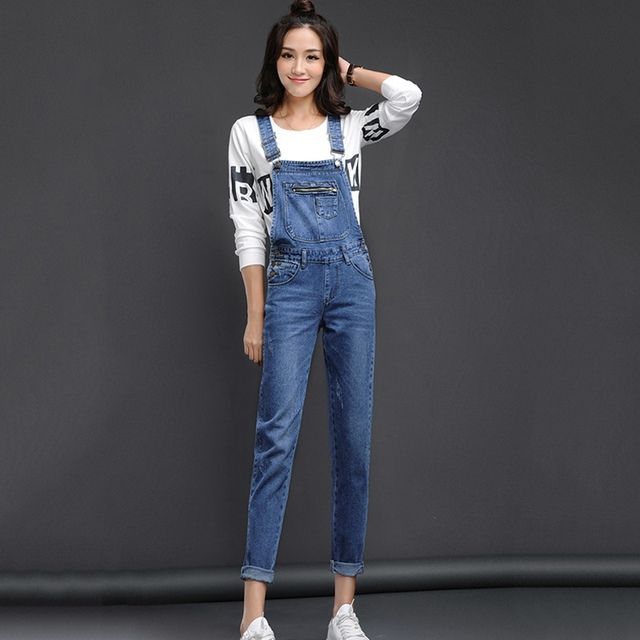 New Arrival Women Blue Denim Overall Multi Pocket Suspender Trousers Sweet Jeans Jumpsuits for Girls Size S-XL
