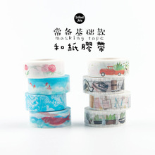 1X 1.5cm Wide Fresh Rose Sky Washi Tape Masking Tape DIY Sticker Decorative Stick Label School Office Supply Student Stationery