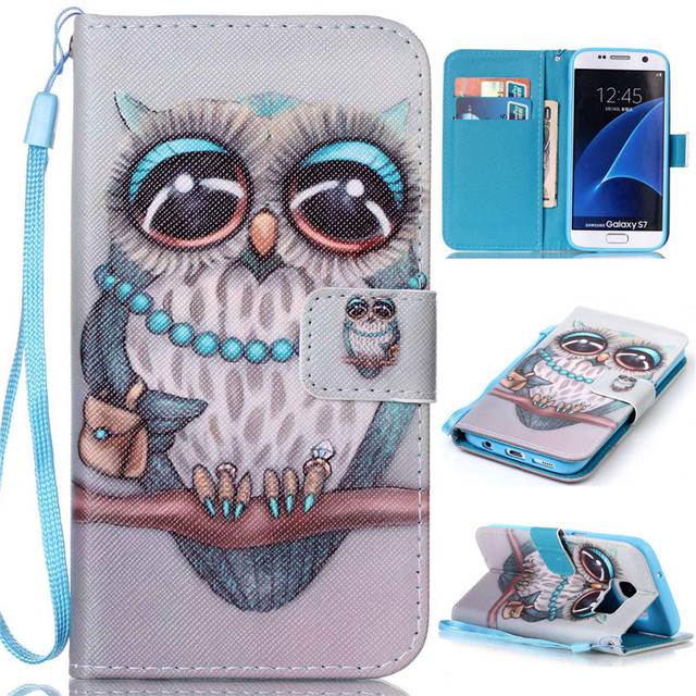 the best attitude 7a698 098cc US $2.7 16% OFF|Fashion Owl Girl Butterfly Cell Phone Case Cover For  Samsung Galaxy S7 Case Stand Wallet Flip PU Leather Protective Phone  Casing-in ...