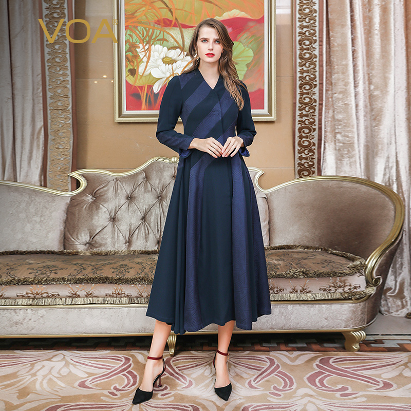 VOA Silk   Trench   Coat Women Outerwear Casual Plus Size Loose 5XL Cardigan Long Sleeve Overcoat Ruffle Navy Blue Spring F113
