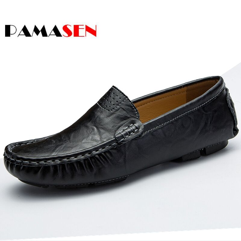 PAMASEN Spring Casual Driving Shoes Genuine Leather Loafers Men Shoes Slip-On Men Loafers Flats Shoes Mens Chaussure Size 37-48 hot sale mens italian style flat shoes genuine leather handmade men casual flats top quality oxford shoes men leather shoes