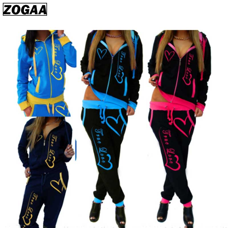 ZOGAA Women's Fashion Tracksuit Two Piece Set Casual Sportswear For Woman Clothes Winter Fitness Suit 2 Piece Suit Sweat Suit