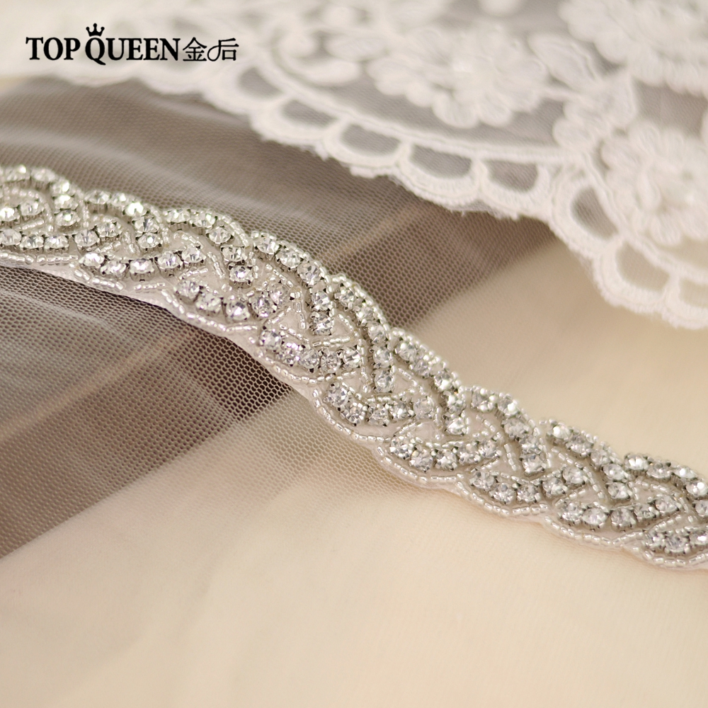 TOPQUEEN S216 Women's Rhinestones Handmade Belt Wedding Dress Belt Accessories Marriage Bridal Sashes Can Customize Any Size