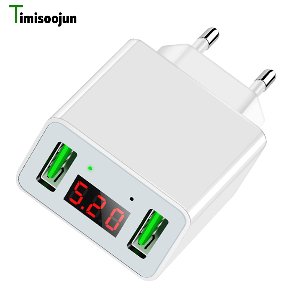 LED Display 2 Port USB Mobile Phone Charger EU Plug 5V2.2A Smart Fast Charging Travel Wall Charger for iPhone X 8 iPad Samsung