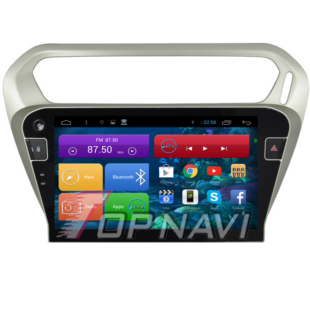 Professional Free Shipping Quad Core Android 4.4 Car Stereo for Citroen Elysee 2015 With Free Map 16GB Flash Mirror Link Wifi BT