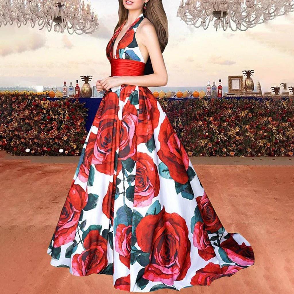 Elegant Floral Print Evening Party Dress Women Sleeveless Deep V Neck Halter Sexy Dress Slim Waist Maxi Dress Vestidos Sukienki