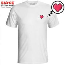 A Pixel Heart Enjoy Digital Life T-shirt Creative Print Cool T Shirt Novelty Fashion Hip Hop Women Men Top White Cotton Tee