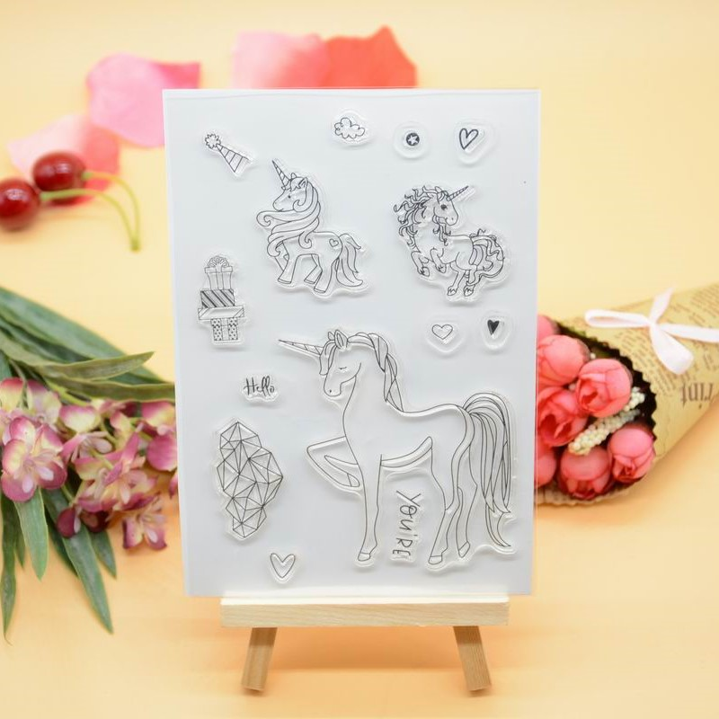 CS1231 Scrapbook DIY Photo Album Cards Transparent Acrylic Silicone Rubber Clear Stamps Sheet  11x16cm Unicorn 2016 new scrapbook diy photo album cards transparent acrylic silicone rubber clear stamps sheet enjoy