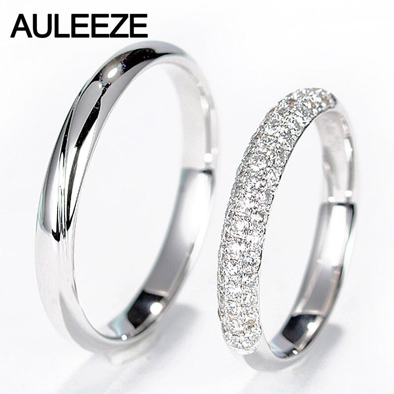 AULEEZE יהלום אמיתי טבעי יהלומים מוצקים 18 K זהב לבן אירוסין טבעת נישואים חתונת זוג טבעות לנשים וגברים להקות
