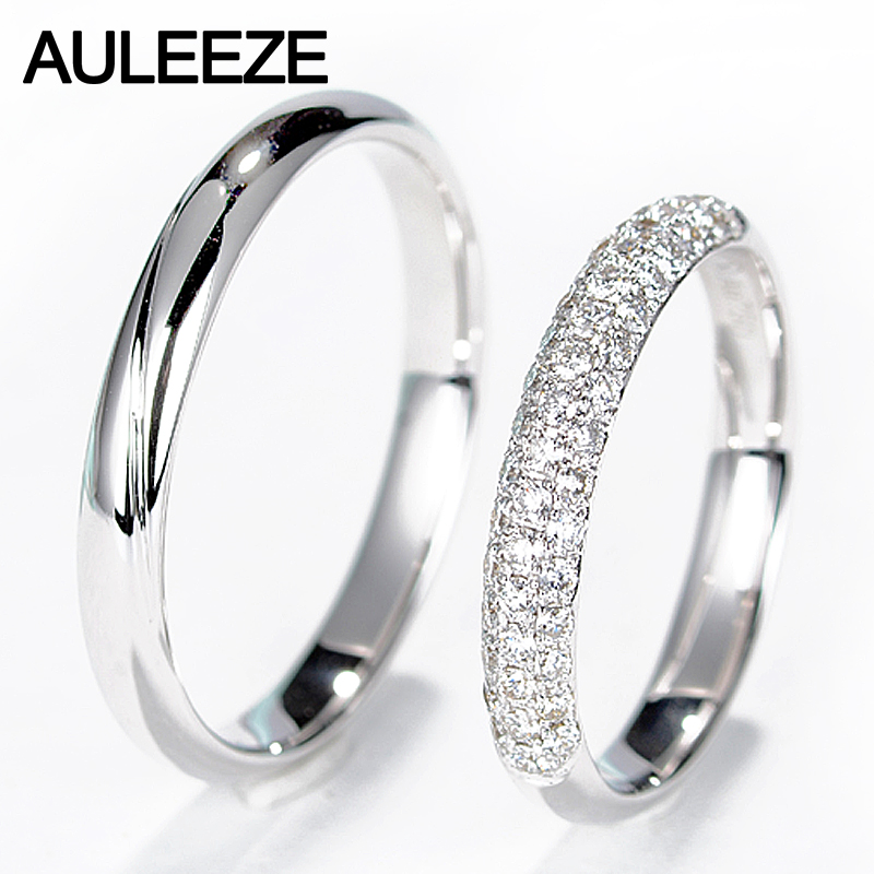 AULEEZE Real Diamond Engagement Wedding Ring Natural Diamond Solid 18K White Gold Rings For Women and Men Couple Wedding Bands hot sale couples wedding bands lock and key love solid 18k white gold diamond engagement ring wu141