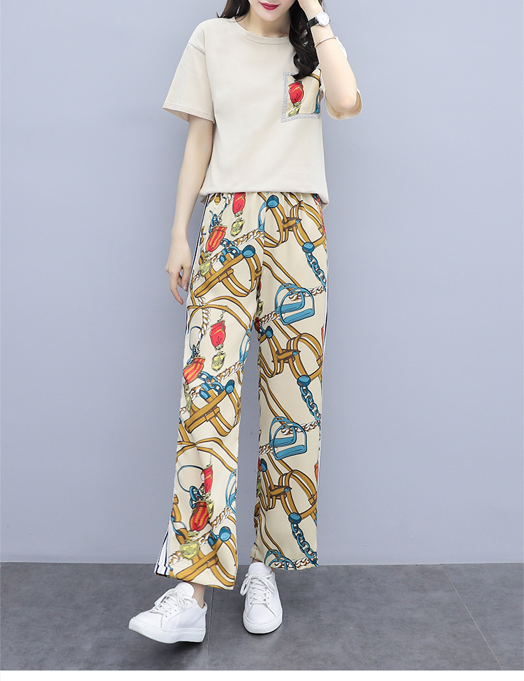 L-5xl Summer Printed Two Piece Sets Women Plus Size Short Sleeve T-shirts And Wide Leg Pants Suits Casual Fashion Women's Sets 35