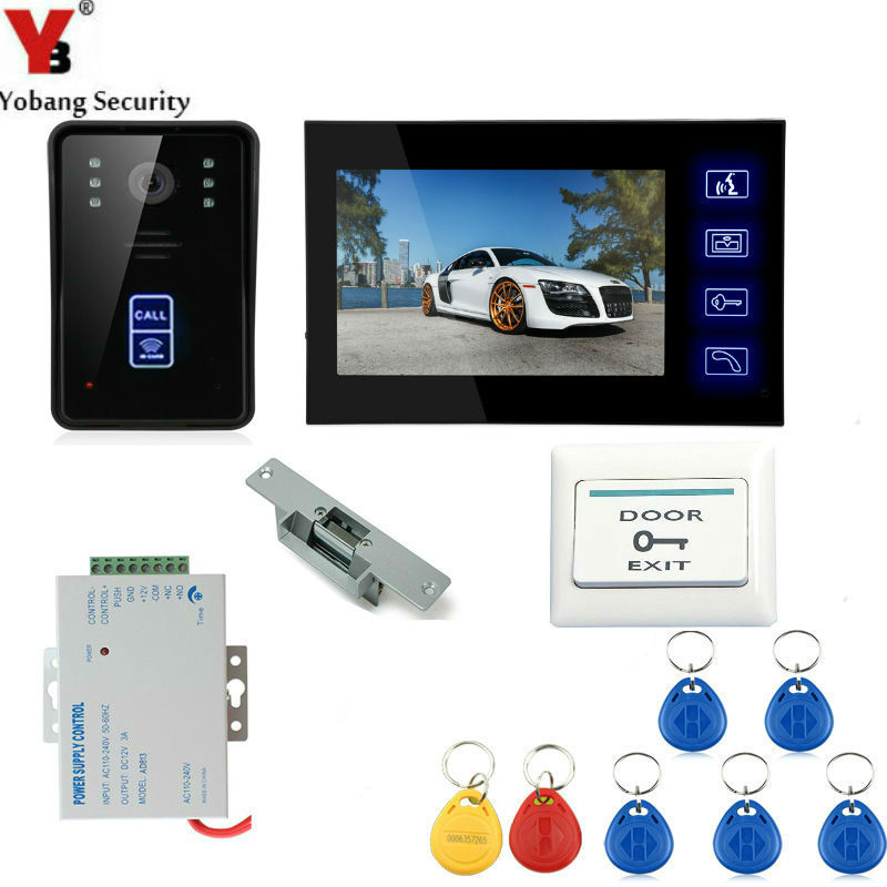 Yobang Security 7 Inch Video Door Phone Door Intercom Video Intercom Doorphone IR Night Vision Camera Monitor Kit For Home home security video door phone intercom system 7 tft lcd screen one monitor wire video doorphone for villa night vision camera
