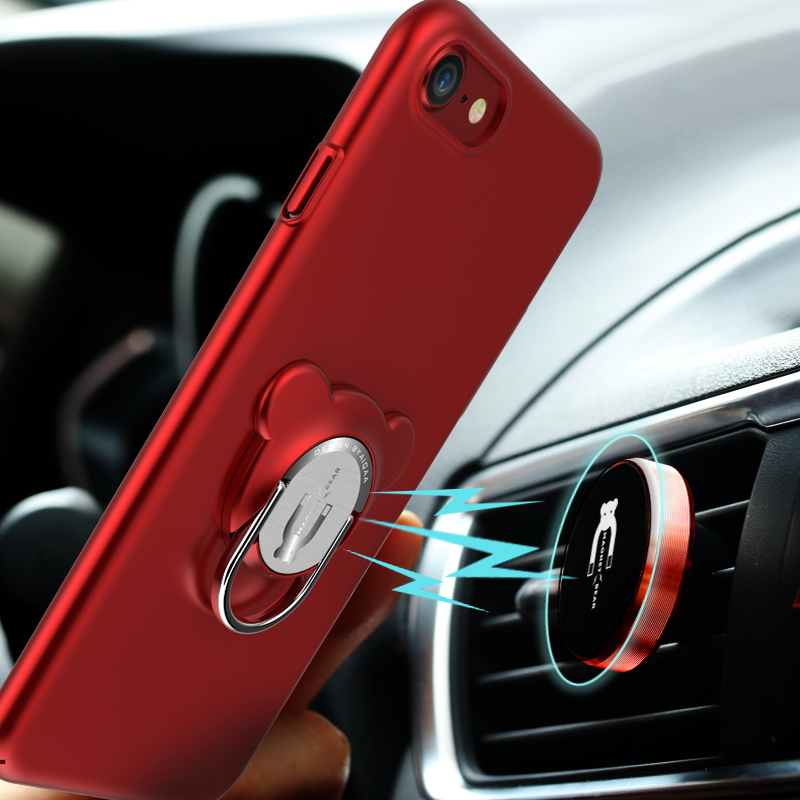 Luxury 3 in 1 Magnetic Armor Cover Case For iPhone 8 7 6 6S Plus with 360 Rotation Ring Car Phone Holder Stand Case