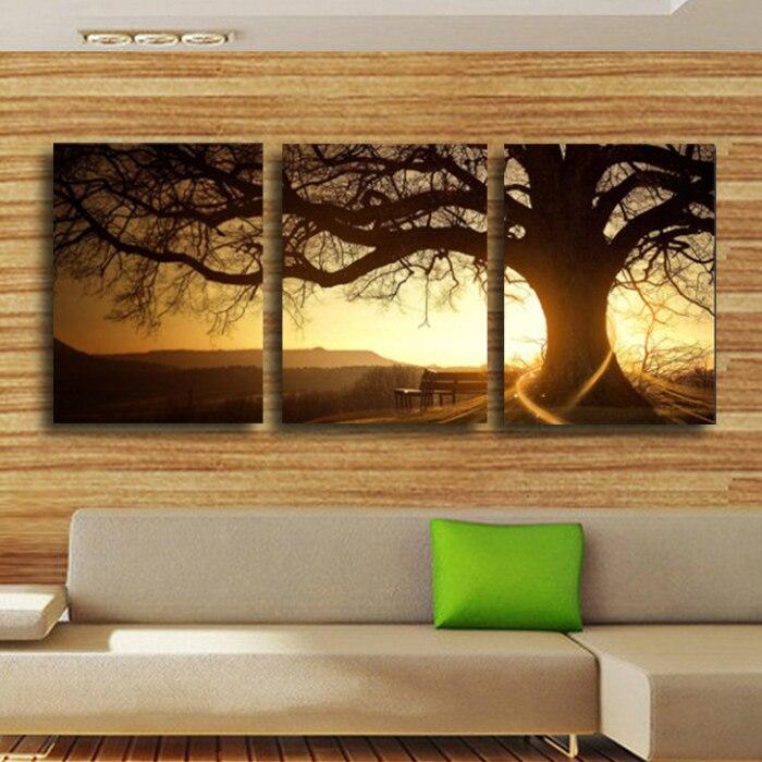 ⊰3 panel moderno impreso árbol cuadro pintura cuadros puesta de sol ...