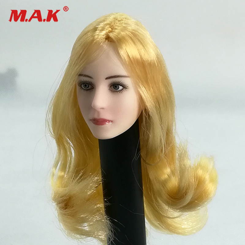 цена 1/6 Female Doll Gold Long curly Hair Girl Head Sculpt European and American Woman Headsculpt for 12 inches DIY Action Figures