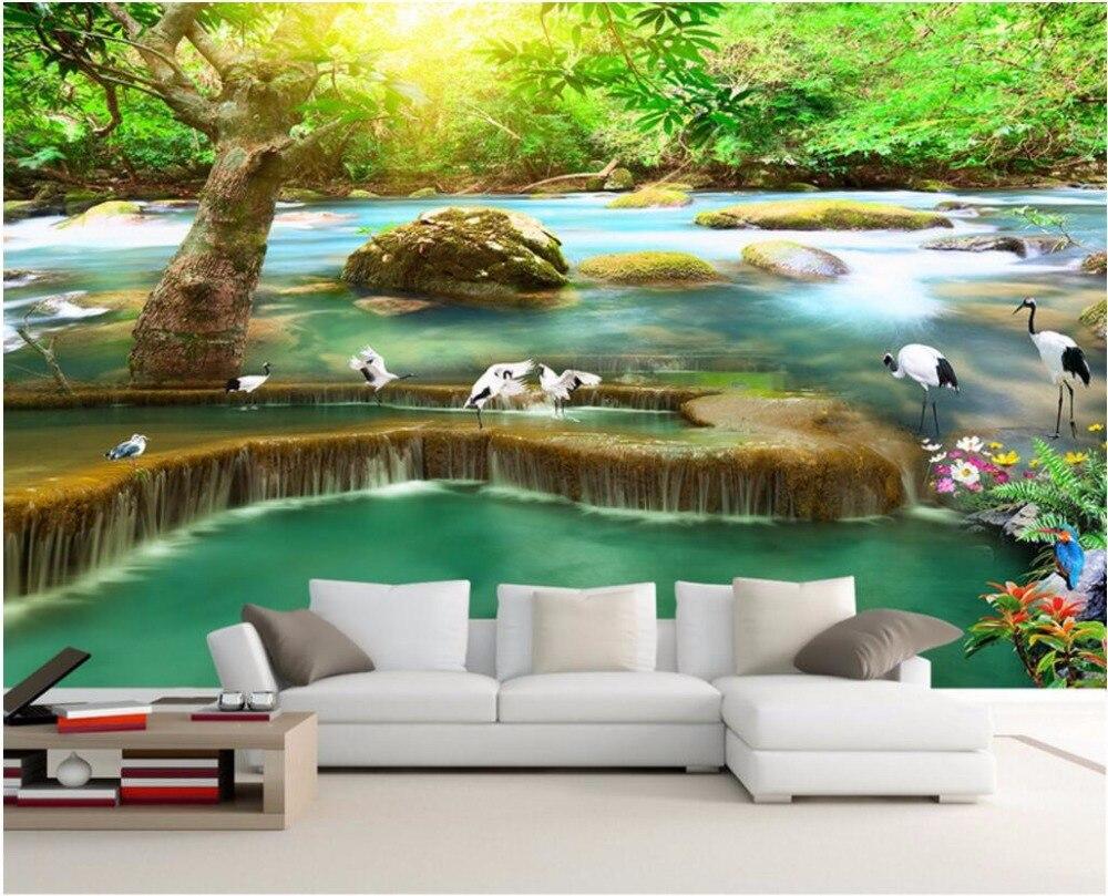 online get cheap sun wallpapers aliexpress com alibaba group 3d wall murals wallpaper for walls 3 d wallpaper sun forest falls cranes background wall room