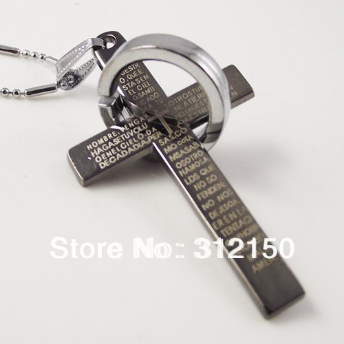 12 pcs free shipping wholesale  stainless steel Ball Chain cross Pendant jewelry hang circle Pendant Cross Necklace