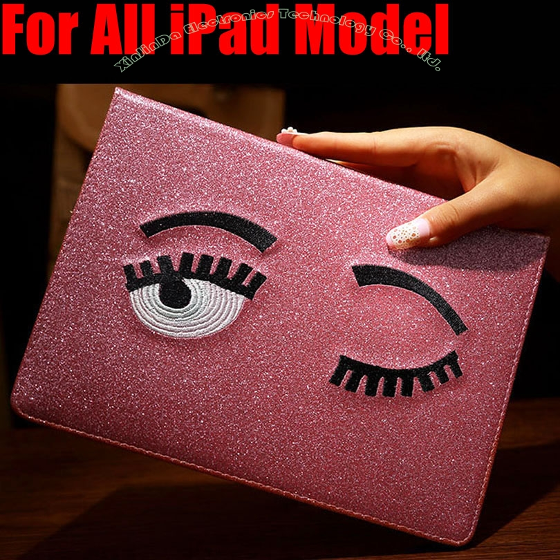 Smart Case For iPad mini 4/3/2/1 For IPad 9.7 2017 Air/Air2 Fashion Blink EYE Glitter PU Leather Cover for iPad 4/3/2 IM422 for ipad air 2 air 1 case for apple ipad mini 1 2 3 smart cover pu leather glitter silicone soft back case for ipad air coque