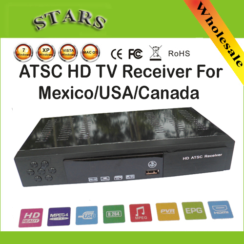 New HD PVR Digital MPG4 H 264 ATSC TV Tuner 1080P Chinese TV Box Receiver  support USB/HDMI for Mexico/USA/Canada,Free Shipping