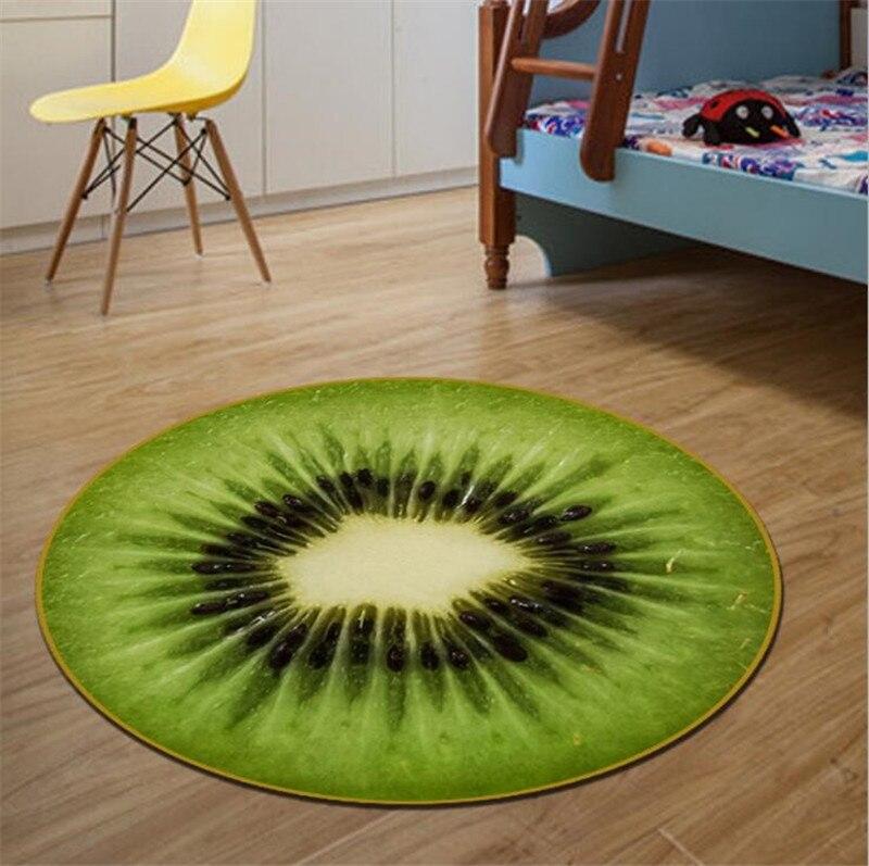 Круглый ковер, фруктовый 3D принт, мягкие ковры, Противоскользящие коврики, коврики для компьютерного стула, Kiwi, арбуз, напольный коврик для детской комнаты, домашний декор - Цвет: C