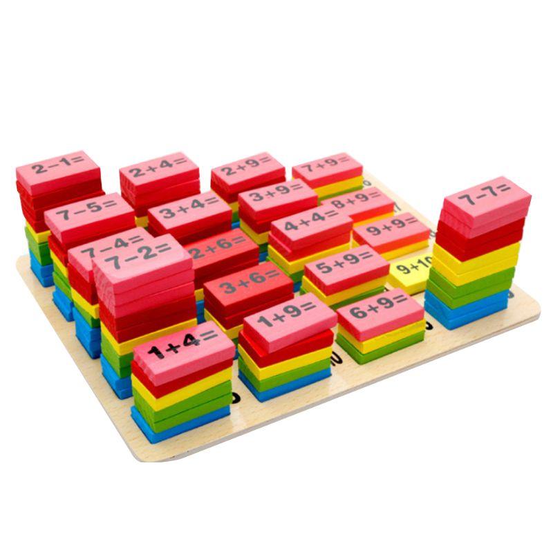 1 Satz Authentische Standard Holz Math Arithmetik Kinder Domino Spiel Spaß Spielzeug Geschenk