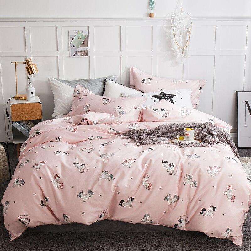 Ensembles de literie rose licorne Twin Queen King Size 100% draps de lit en coton housse de couette/drap housse taies d'oreiller pour chambre d'enfant
