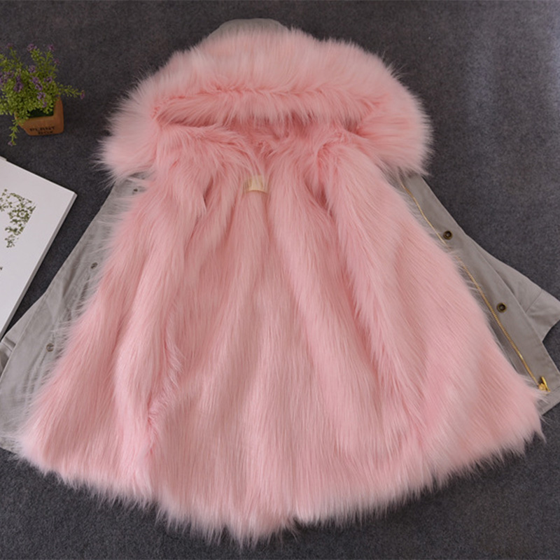 UNINICE Winter Girls Fur Coats Parkas Children Faux Long Fur Liner Coat Thick Warm Jackets Kid Fur Collar Hooded Outerwear plus size winter women cotton coat new fashion hooded fur collar flocking thicker jackets loose fat mm warm outerwear okxgnz 800