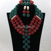 כדורי תחרה חמה למכירה תכשיטי סט אפריקאי תלבושות כלה ניגרית חרוזים טורקיז ירוק/אדום סטי תכשיטי כלה משלוח חינם ALJ161
