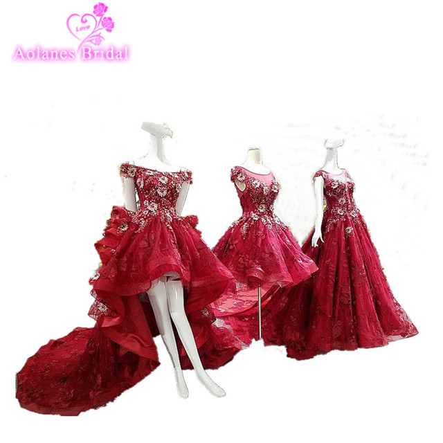 Real Photo Evening Dresses 2017 Hi lo New Red Court  Train Tulle Lace Appliques Party Occasion Prom Dresses Robe De Soiree