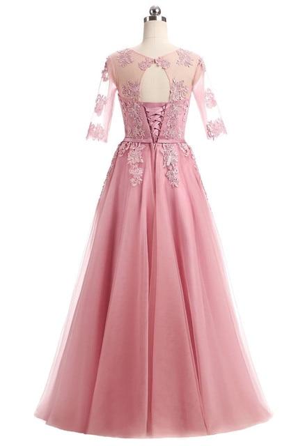 Half Sleeve Floor Length Tulle Lace Bridesmaid Dress 5