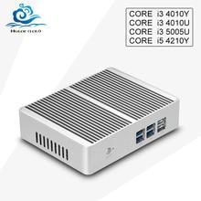 Nuevo Mini Ordenador de Escritorio Core i34010u 5005U 4010Y Núcleo i5 4210Y Sin Ventilador Micro pc 4 * USB 3.0 HDMI + VGA Wifi ventanas personalizado