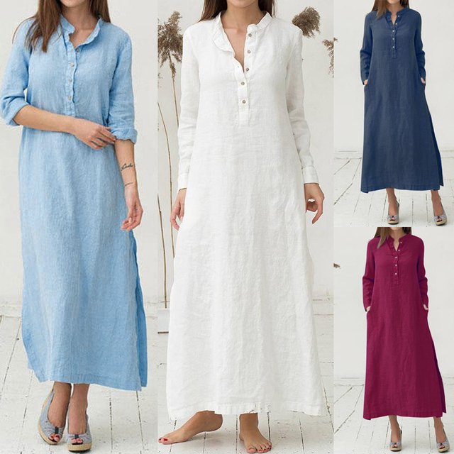 Casual Long Dress Long Sleeve Side Pocket 3XL 4XL 5XL Plus Size Cotton Shirt Dress