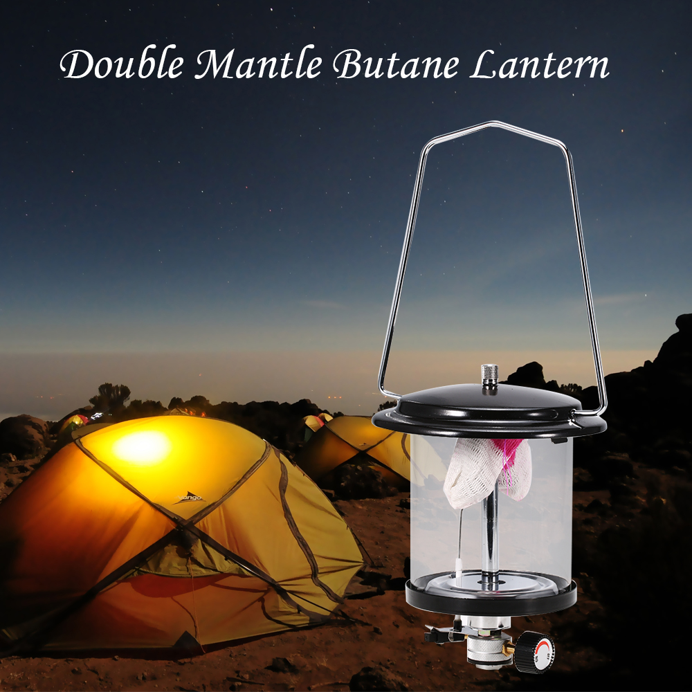 Outdoor Camping Double Mantle Butane Gas Lantern Lamp Mini 140lux Outdoor Portable Aluminum Gas Light Hanging Glass Tent Lamp