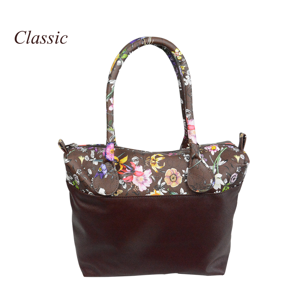 New flower printed insert inner zip pocket canvas plus handles companition for Classic Obag O bag women's handbags new colorful cartoon floral insert lining for o chic ochic canvas waterproof inner pocket for obag women handbag