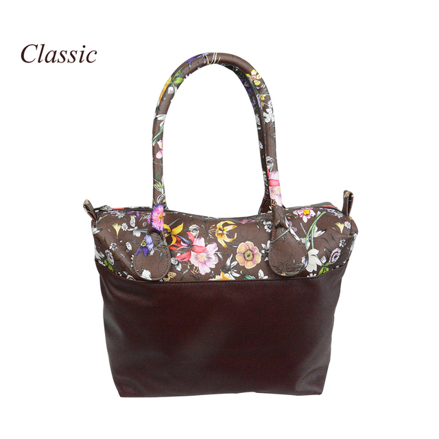 New Flower Printed Insert Inner Zip Pocket Canvas Plus Handles Companition For Classic Obag O Bag