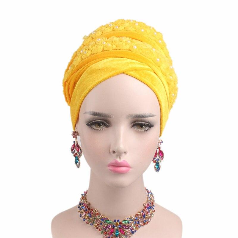 New Fashion Women Velvet Turban Muslim Women Inner Hijabs Hats 3D Beaded Flower Extra Long Head Wraps Hijab Head Scarf Headscarf
