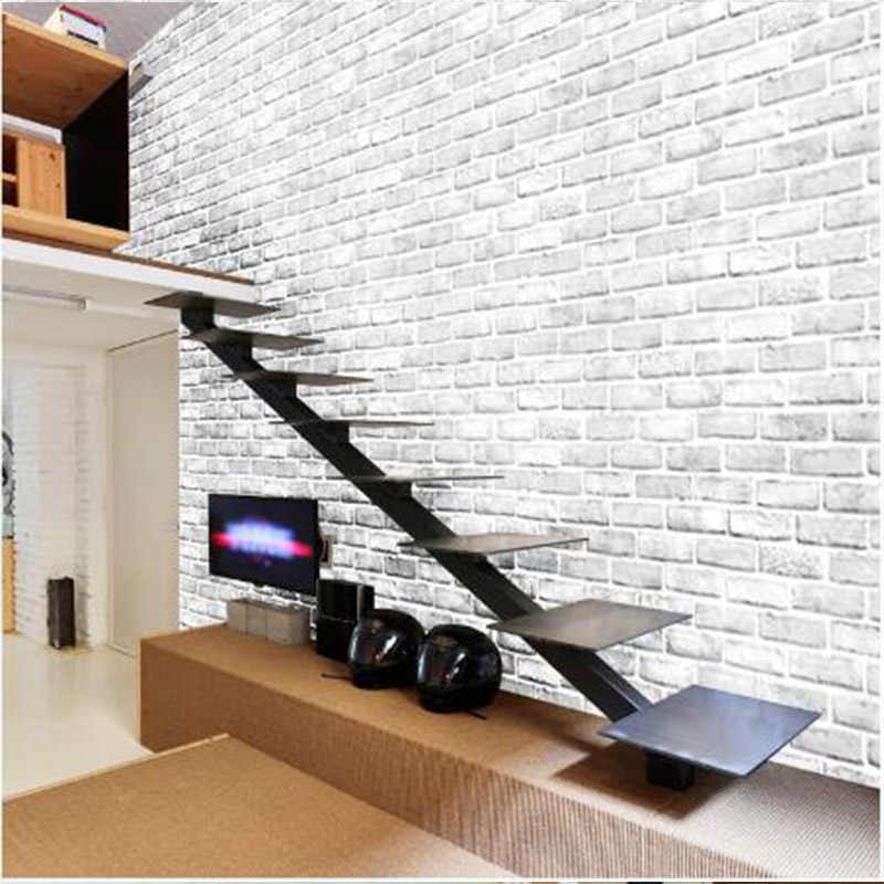 White brick wallpaper Fashion green wall stickers Living room bedroom cabinets Restaurant wall decoration wall stickers