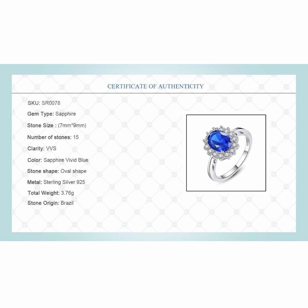 CZCITY Anéis de Pedras Preciosas Safira Azul Do Casamento de Kate Princesa Diana William Engagement 925 Anel de Dedo de Prata para As Mulheres