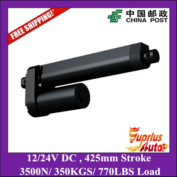 Free Shipping 17inch/ 425mm stroke 3500N/350KGS heavy load Max 8mm/s speed 12/24V DC black linear actuator water proof 12v 24v 150mm adjustable stroke 1500n 330lbs load 6mm s speed heavy duty linear actuator la10db free shipping