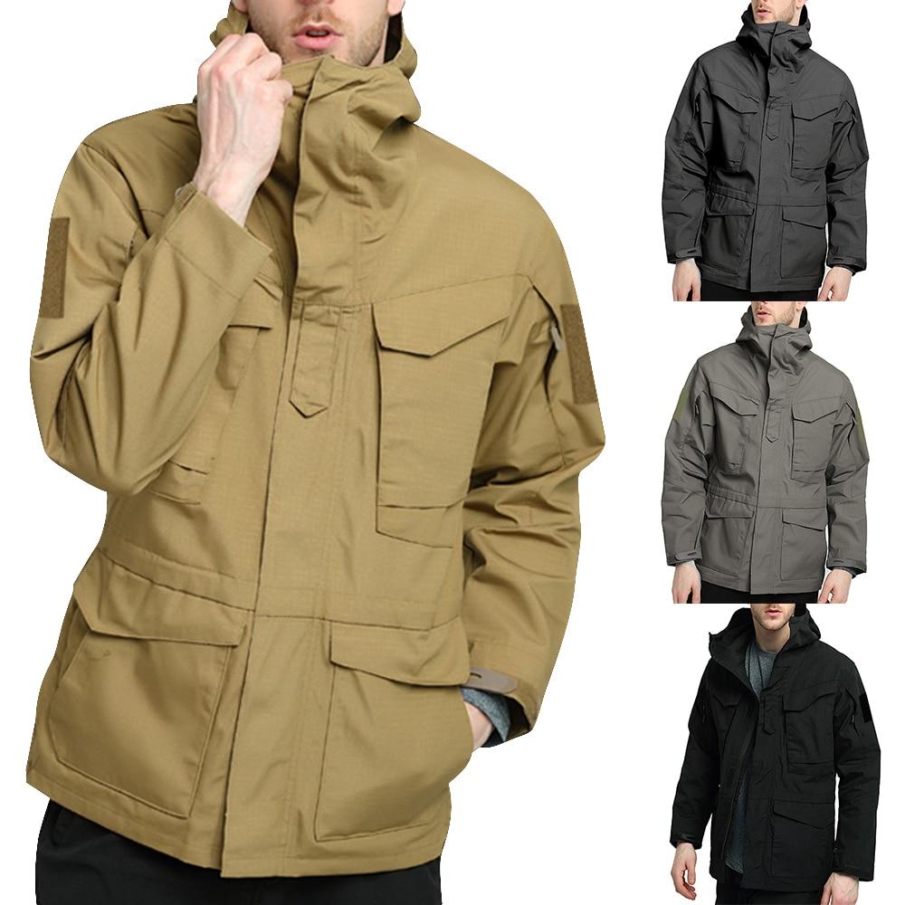 Men Spring Autumn Tactical Windbreaker Jacket Multi-pocket waterproof  internal headphone hole Camouflage warm jackets male coat