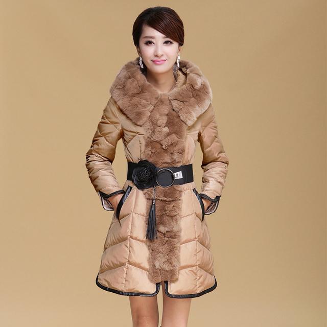 2017 Nuevas mujeres abajo chaquetas 2 colores de manga larga con capucha párrafo largo cuello de piel de abrigos de mujer de invierno de la moda de las mujeres abrigos