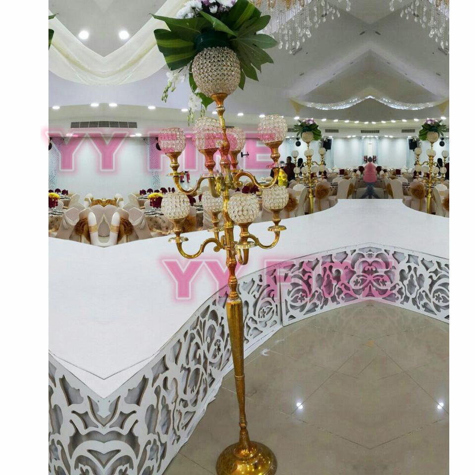 9 Gold Leuchter 150 Cm Hoch Hochzeit Kristall Kerzenleuchter Metall