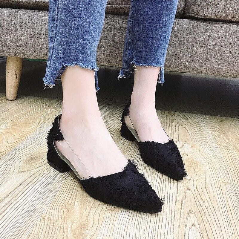Bombas Mujeres Casuales Las Negro Verano Mujer 3 lavanda Púrpura 2018 Damas Zapatos Cm Nuevas Tacones Med Liso Elegante De Más Popular Calzado dvgqXdxw