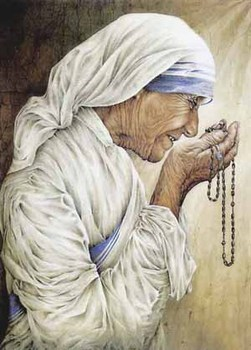TOP ART # Roman Catholic Church as Saint Teresa of Calcutta Mother Teresa praying-100% HAND PAINTED ART OIL painting on canvas